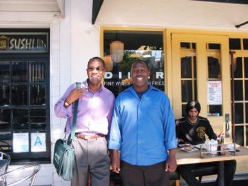 "Jack and Rodney Hoskins outside ""Joe's Diner"" in Santa Monica"